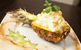 Pečený ananas se sněhem - recept - foto